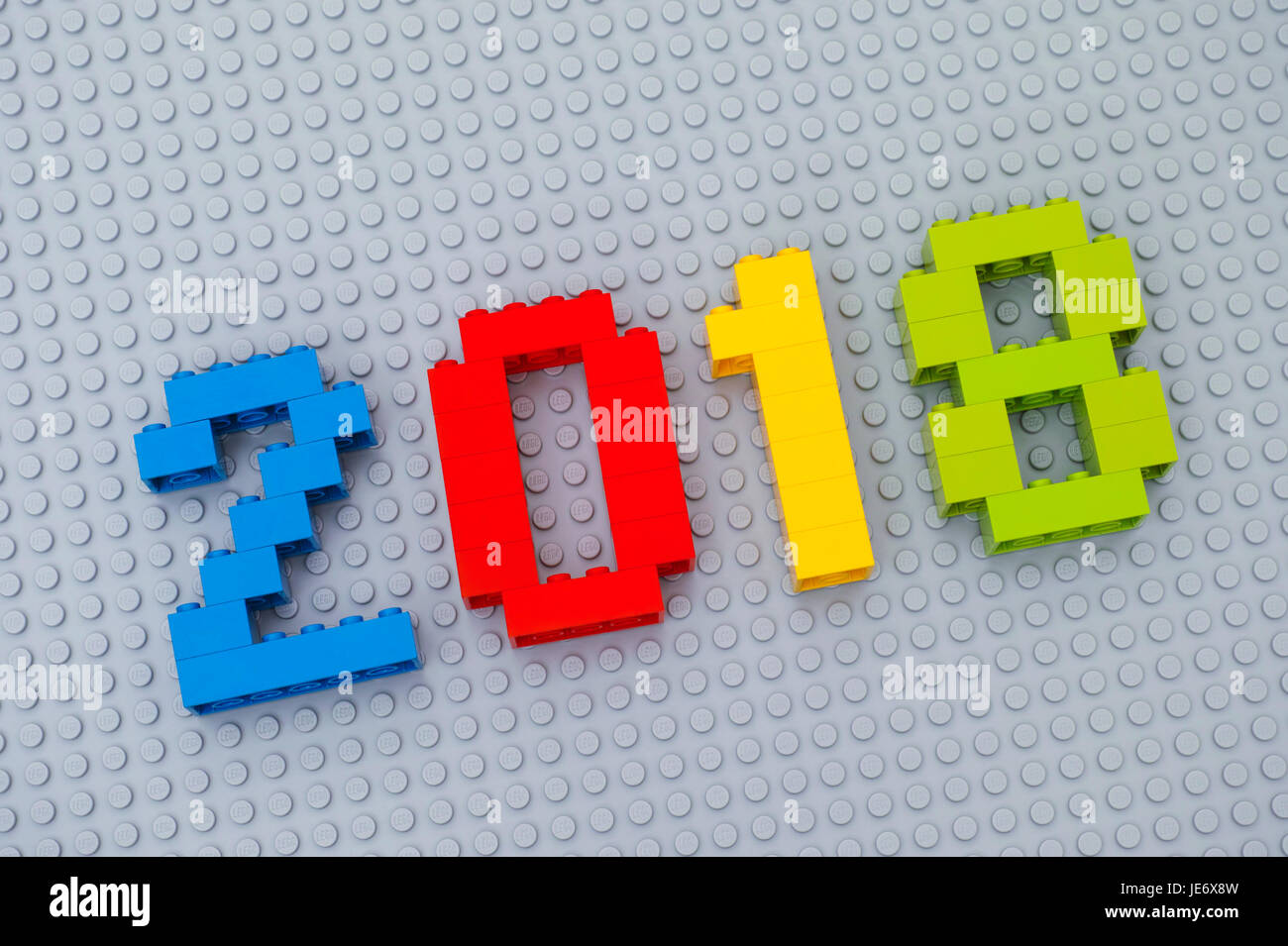 Tambov  Russian Federation   June 17  2017 Lego New year 2018 Stock     Tambov  Russian Federation   June 17  2017 Lego New year 2018 concept   Numbers on gray baseplate  Studio shot