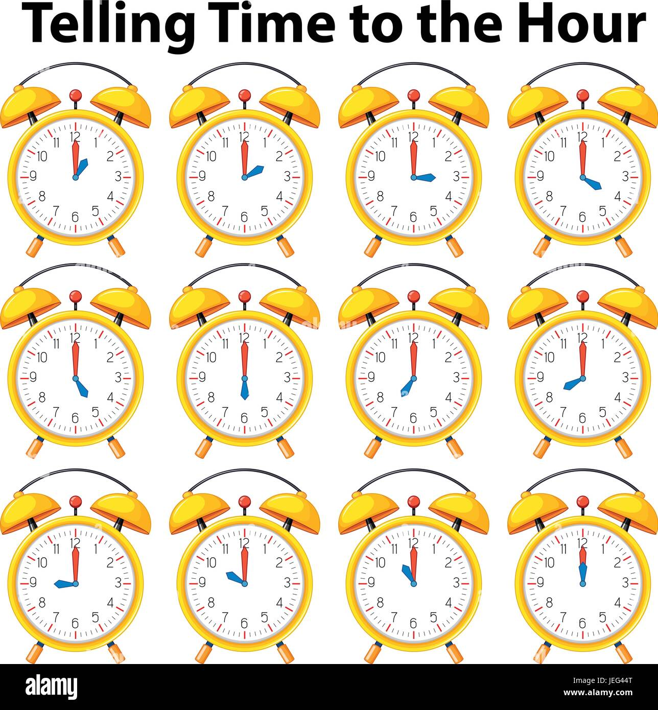Telling Time To The Hour On Yellow Clock Illustration Stock Vector Art Amp Illustration Vector