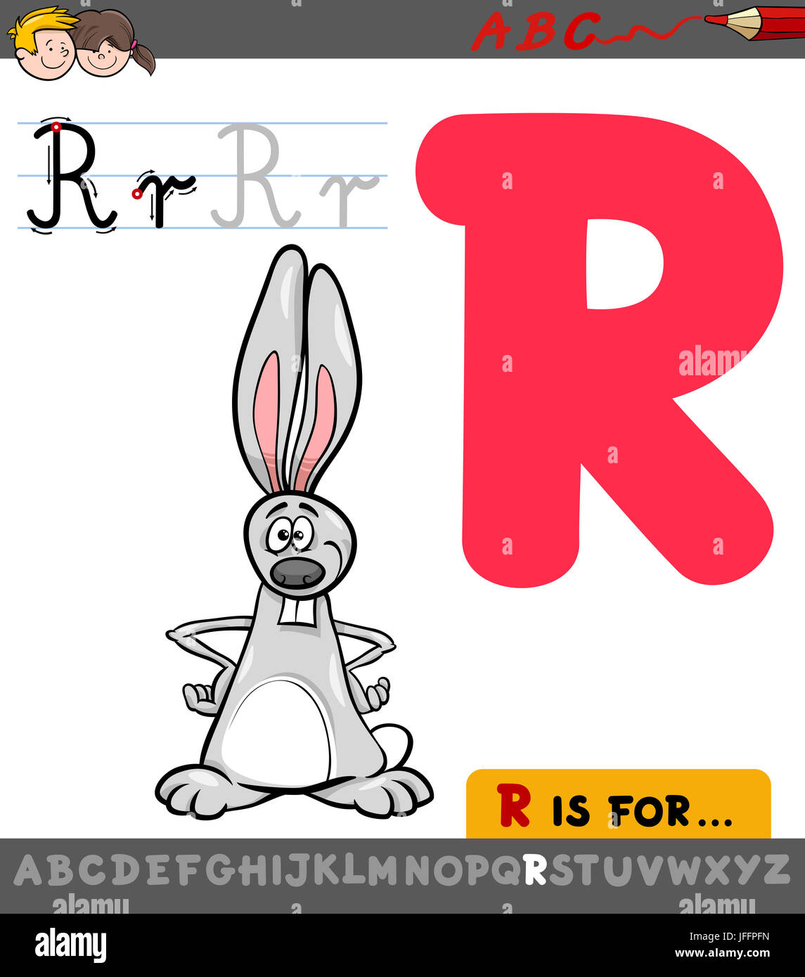 Letter R With Cartoon Rabbit Stock Photo