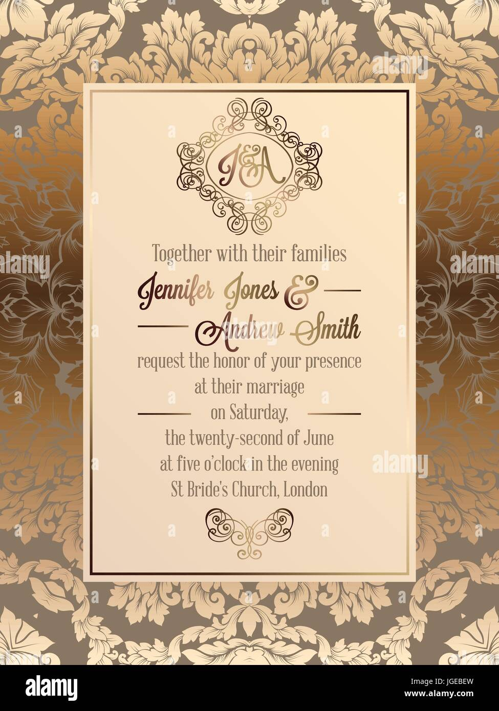 https www alamy com stock photo vintage baroque style wedding invitation card template elegant formal 147833809 html