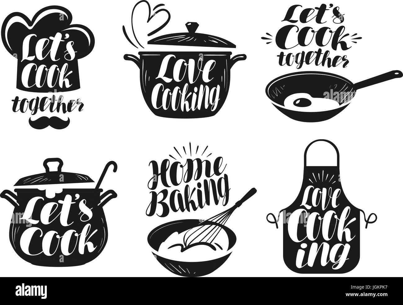 Cooking Cookery Cuisine Label Set Cook Chef Kitchen