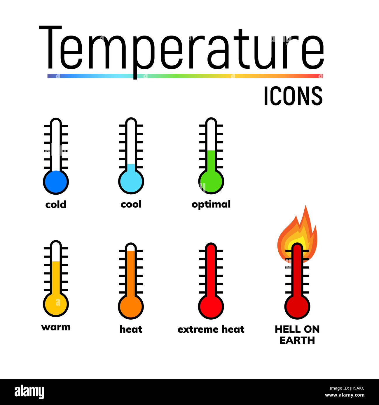 Temperature Icons Set Clip Arts Narrow Range Mercury