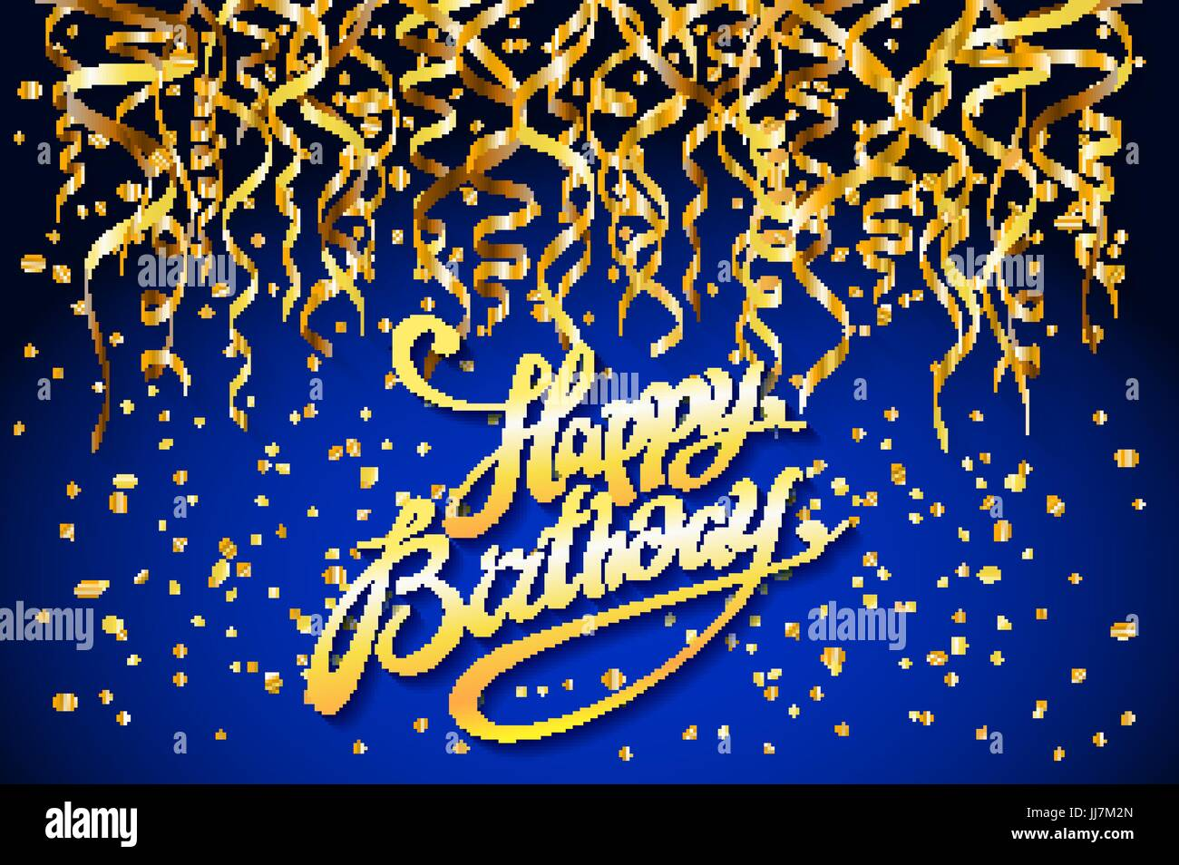 Concept Party On Blue Background Top View Happy Birthday Gold Confetti Vector Modern Flat Design Style Art Stock Vector Image Art Alamy