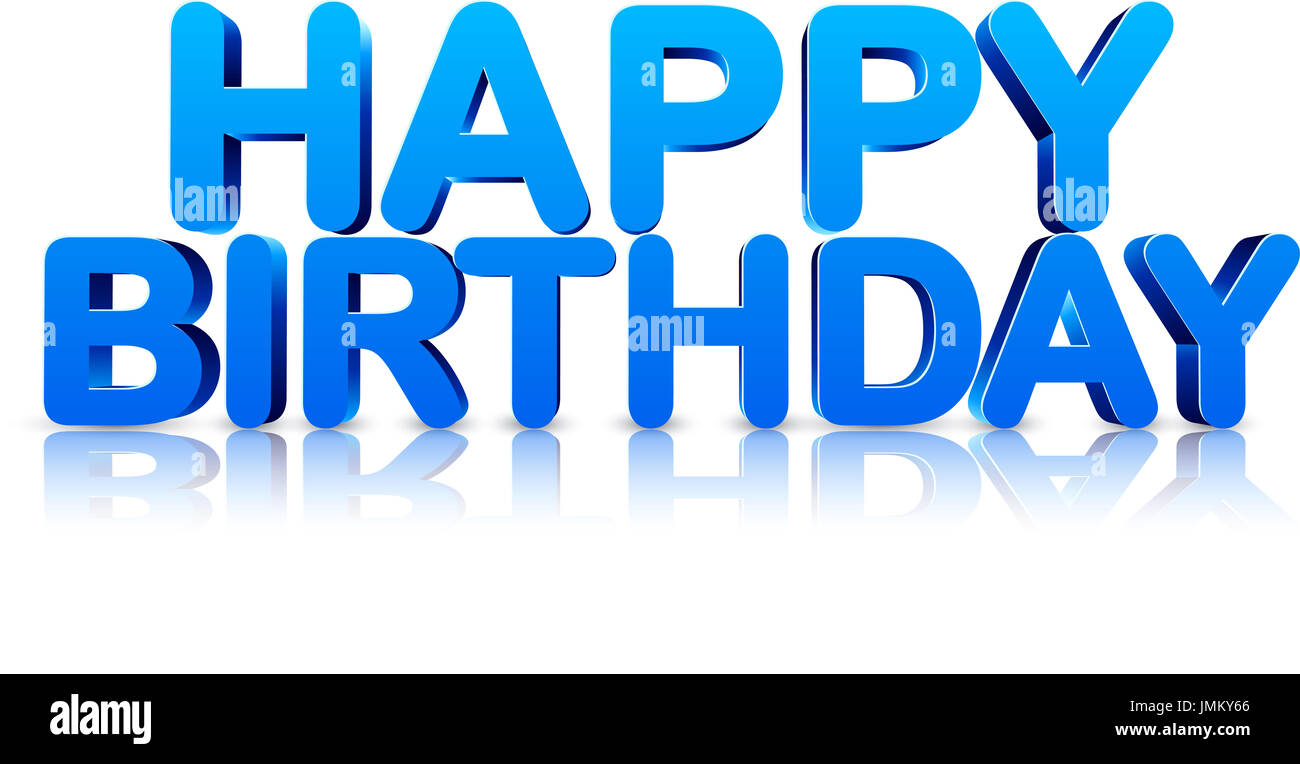 Blue Happy Birthday 3d Card On White Background Vector Holiday Illustration Stock Photo Alamy