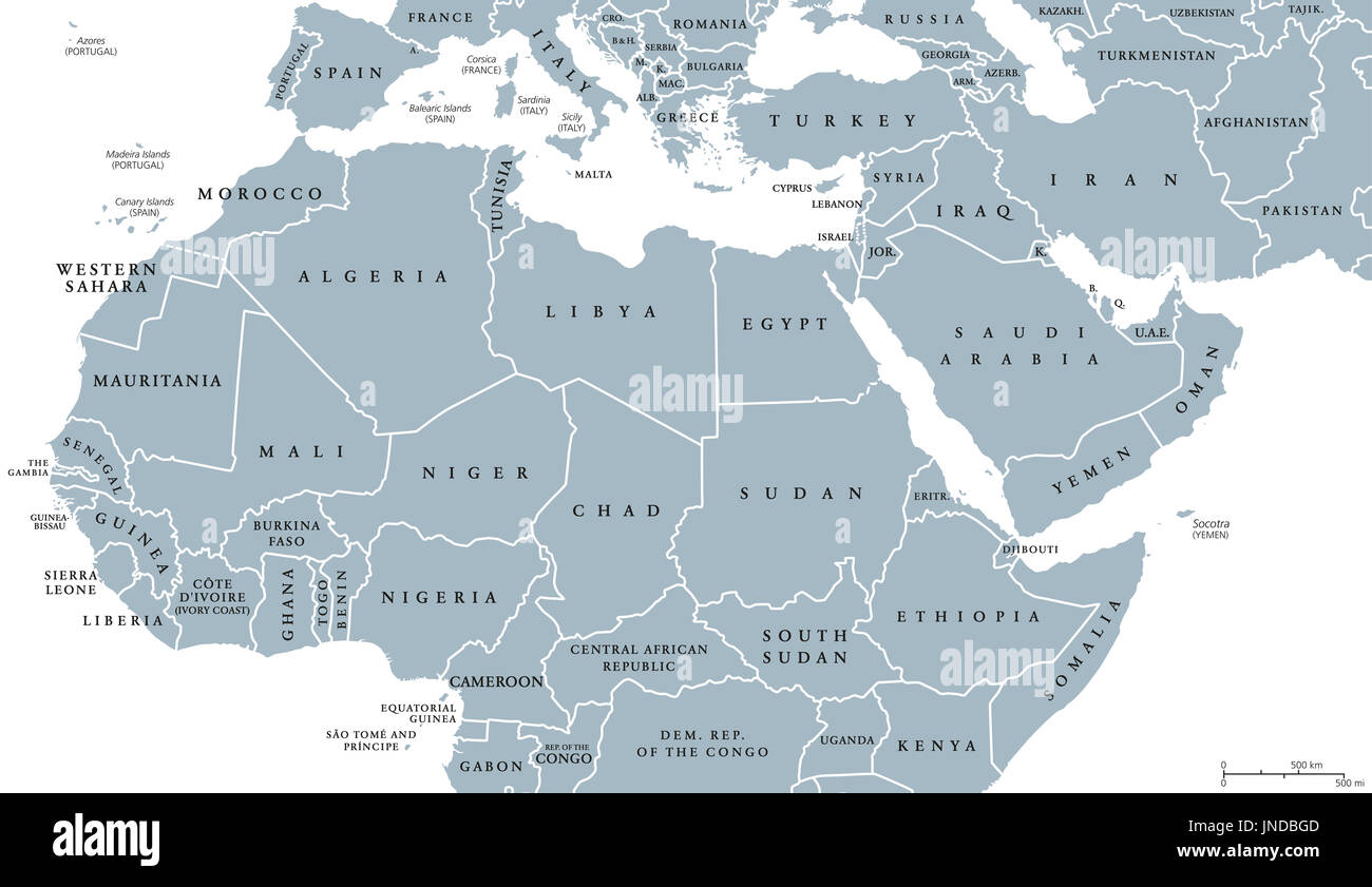 North Africa And Middle East Political Map With Countries