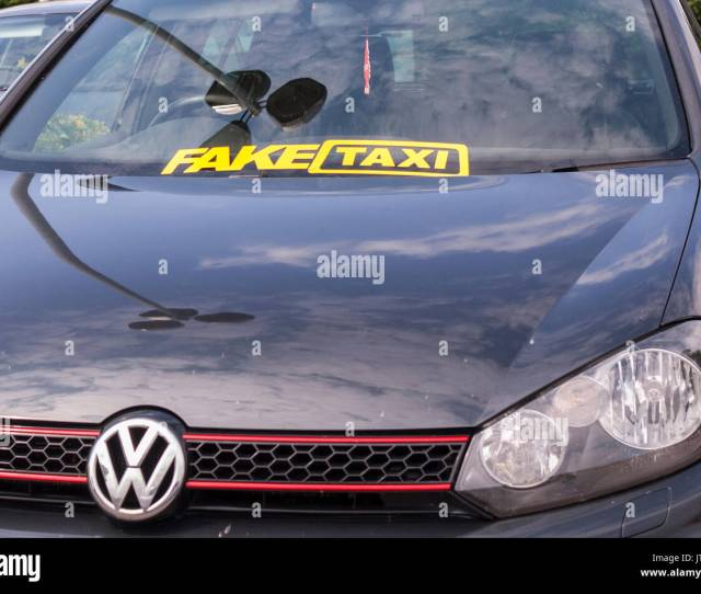 A Humerous Sign On A Car In The Uk Saying Fake Taxi