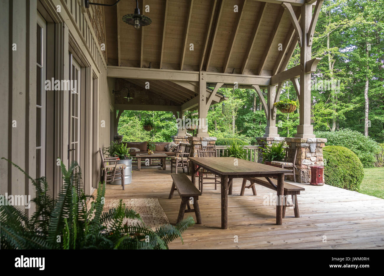 https www alamy com elegant rustic covered wooden porch on estate home image153489045 html