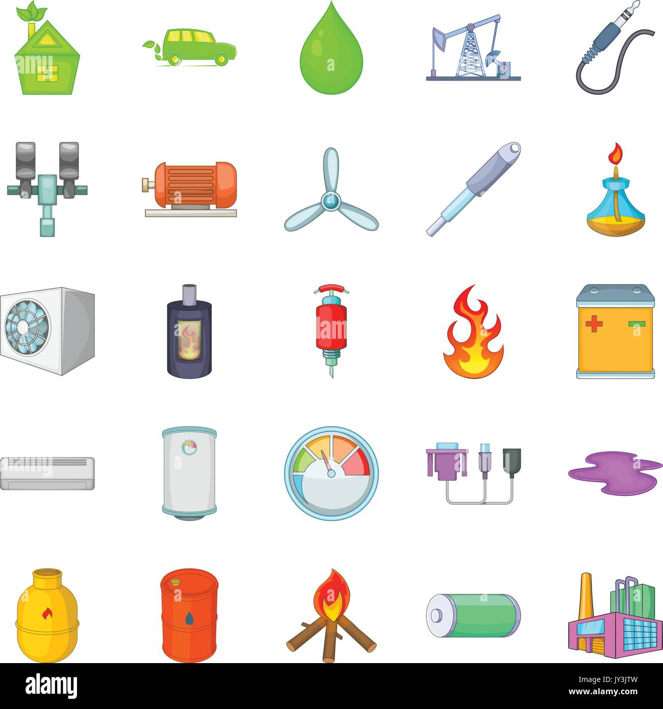 Nonrenewable Energy Icons Set Cartoon Style Stock Vector