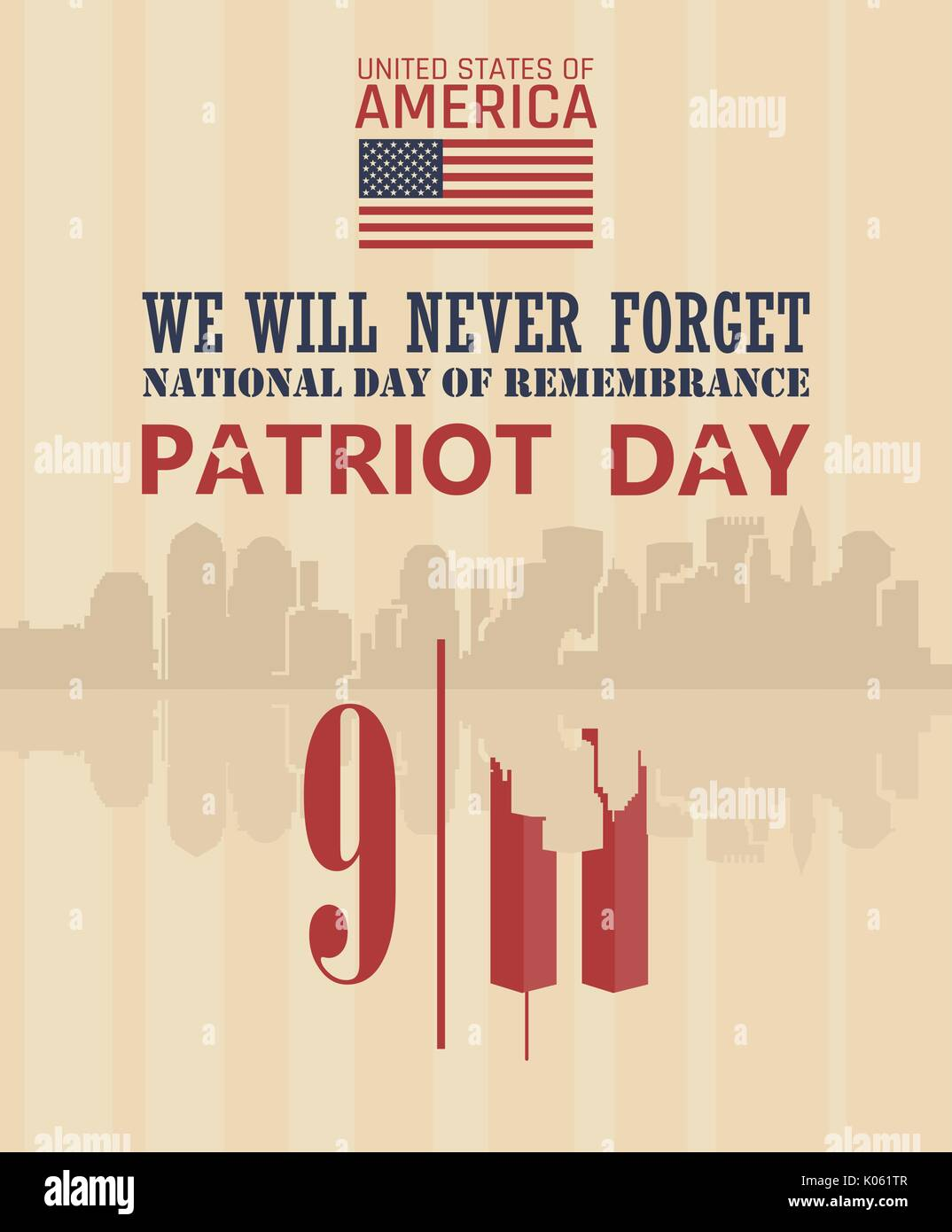 Patriot Day Vector Poster September 11 9 11 Banner
