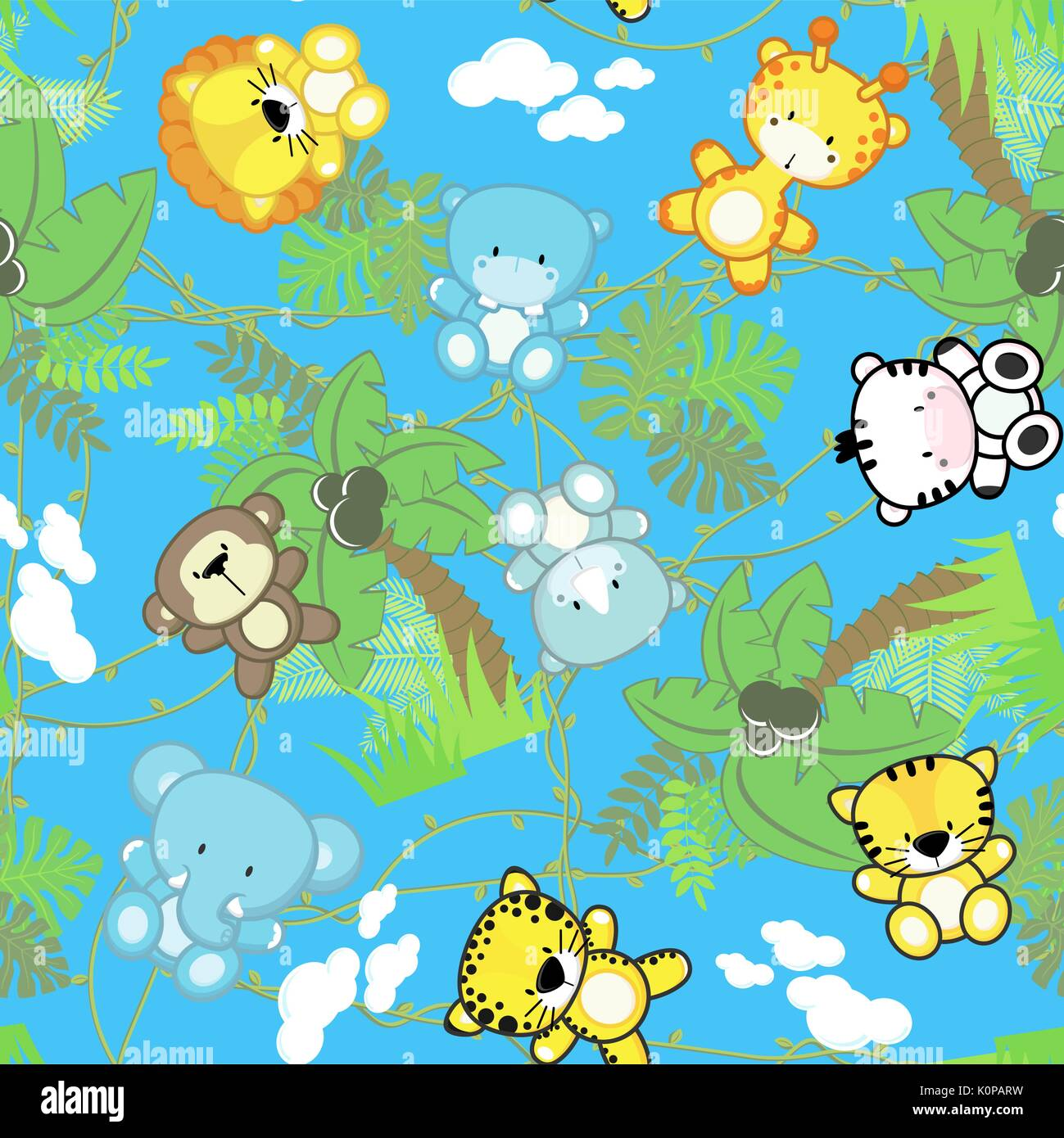 Illustration Of Seamless Pattern With Cute Safari Baby Animals With Stock Vector Art