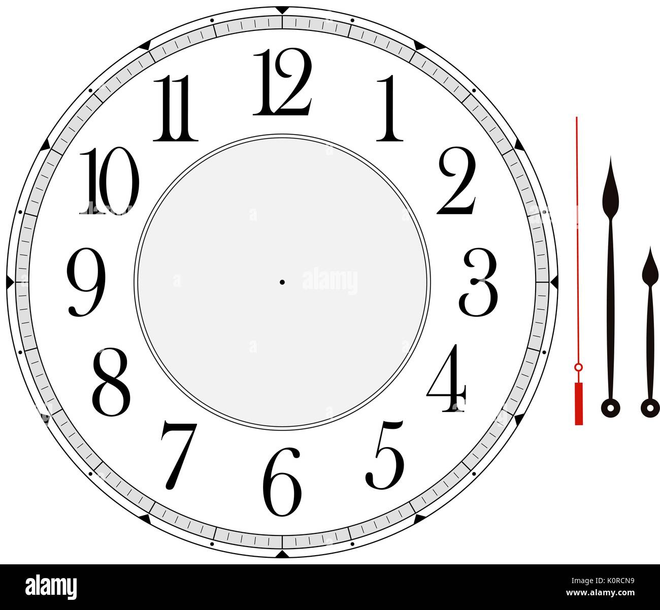 Clock Face Template With Hour Minute And Second Hands To