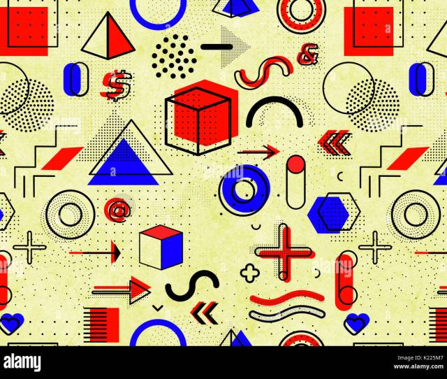 Geometric Memphis Pattern For Fashion And Wallpaper Universal Colorful Decorative Geometrical Forms On Dirty Old Background