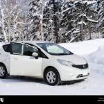 Nissan March On Snow Covered Road In Hokkaido Japan Stock Photo Alamy