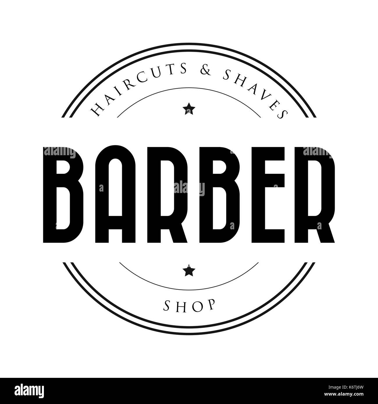 Barber Shop Vintage Stamp Logo Vector Stock Vector Art