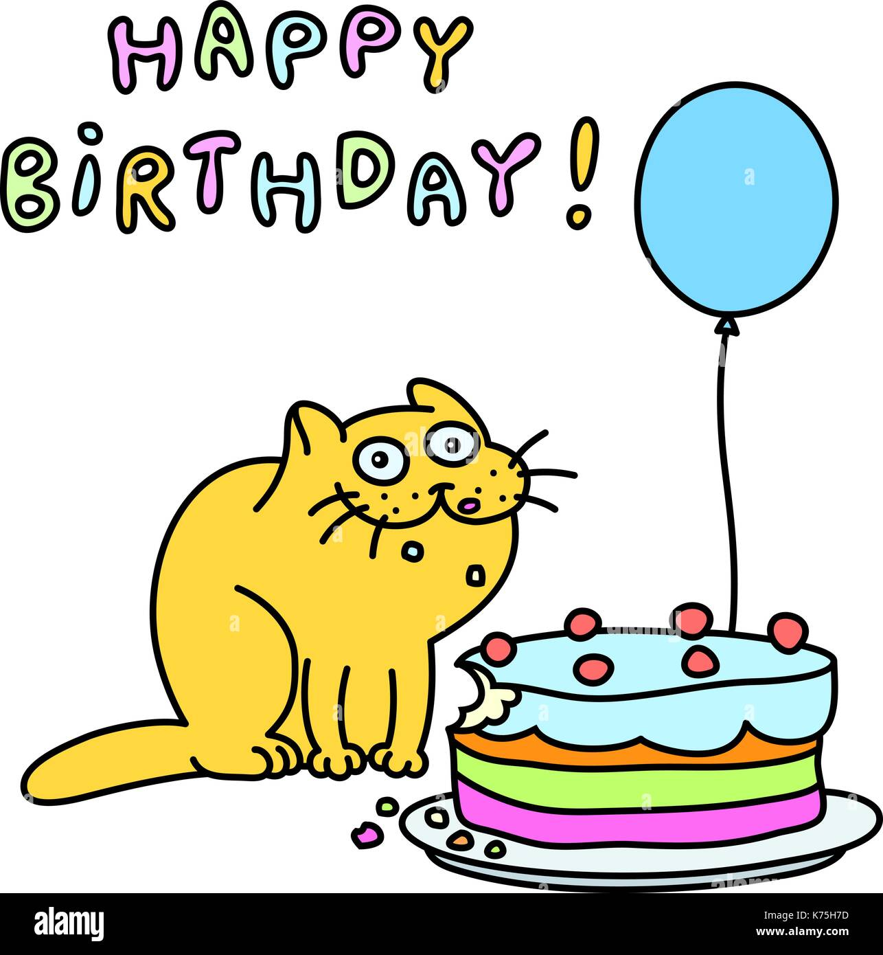 Funny Cat With A Cake And A Balloon Congratulates Happy Birthday Vector Illustration Stock Vector Image Art Alamy
