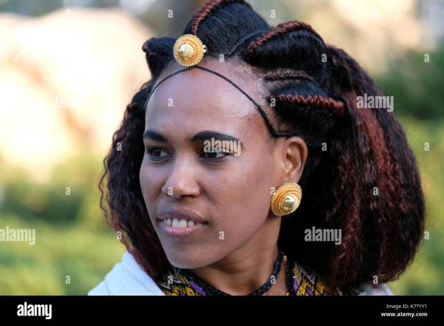 an eritrean woman with traditional hairstyle stock photo