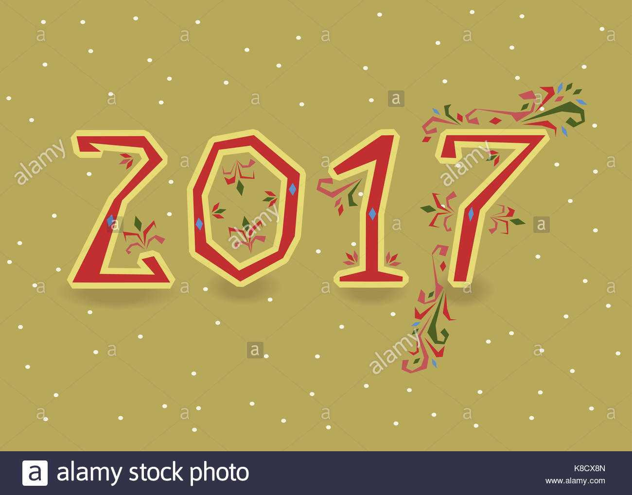 Happy New Year 2017  Calendar template  Red  hand drawn symbols with     Happy New Year 2017  Calendar template  Red  hand drawn symbols with floral  decor  Country font  Celebration background with confetti  Greeting card