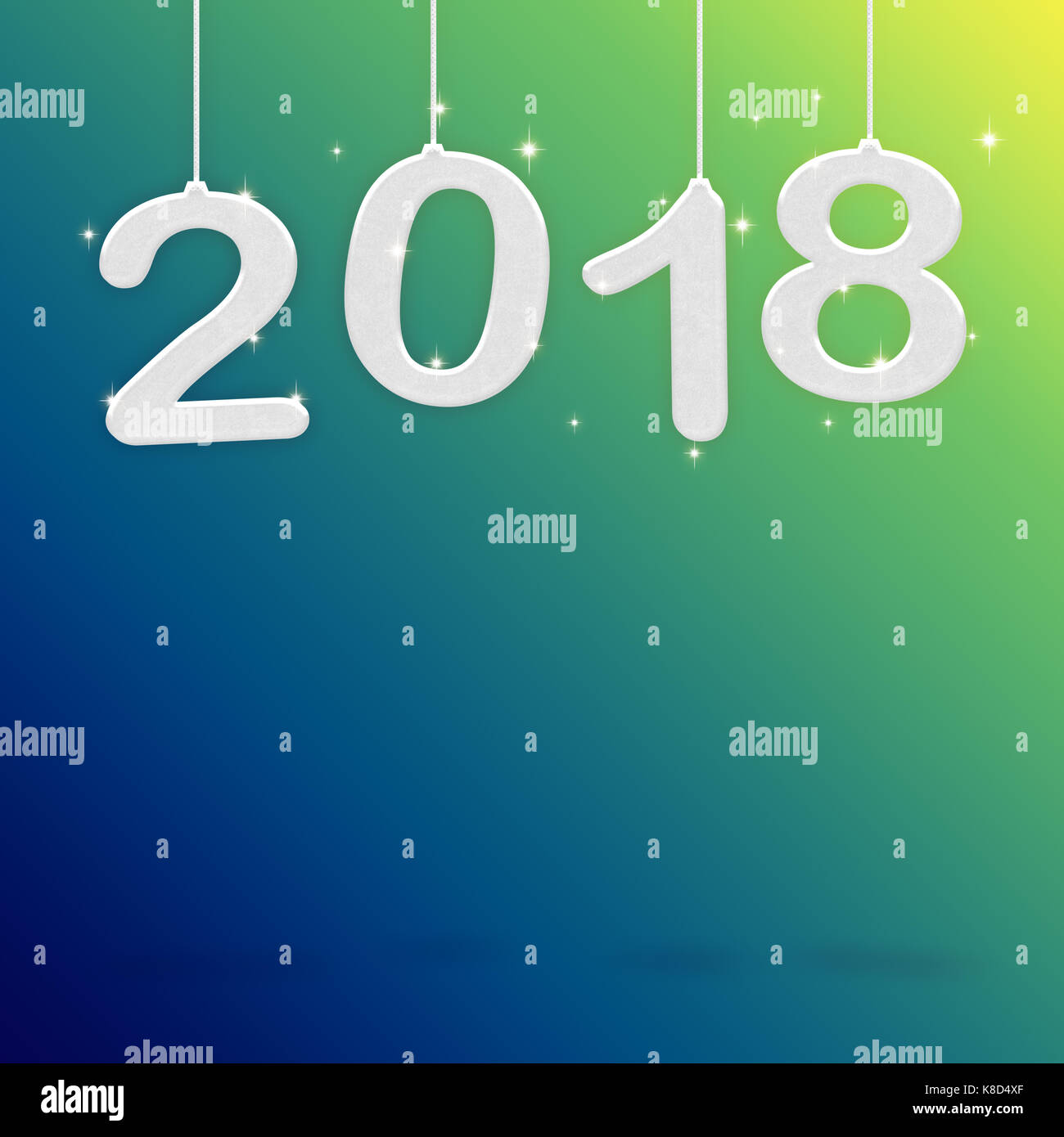 2018 Happy new year white color hanging at green gradient to blue     2018 Happy new year white color hanging at green gradient to blue studio  room Hoilday greeting card Mock up for display or montage of product  3d  rend