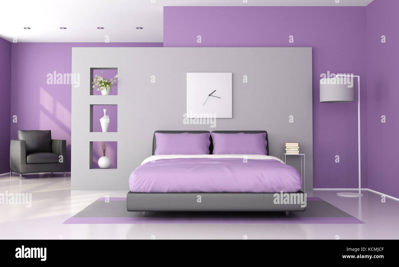 https www alamy com stock image purple and gray modern bedroom 3d rendering 162722687 html