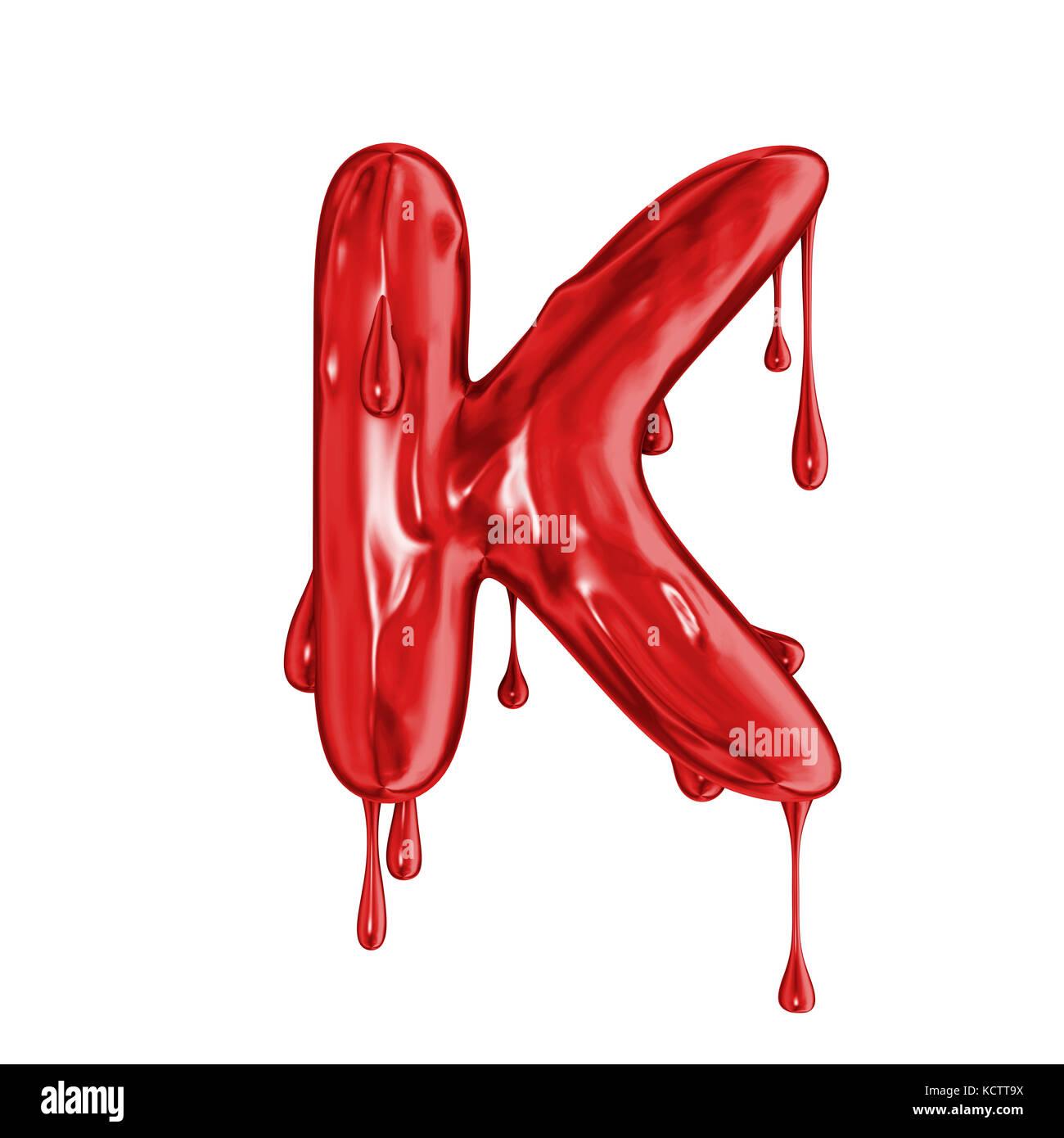 Blood Font Halloween Horror Letter K Stock Photo