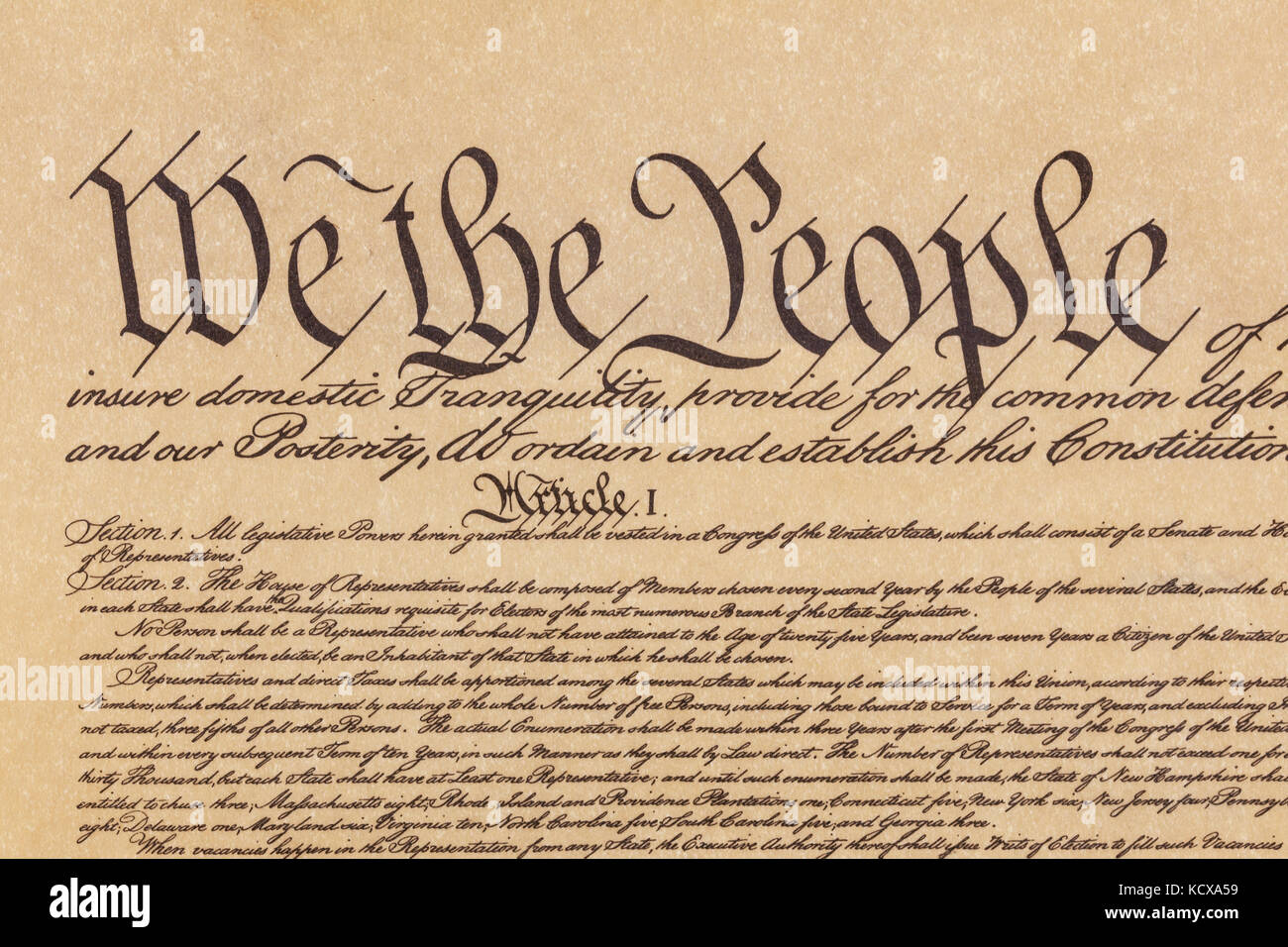 Close Up Shot Of The Preamble To The Constitution Of The