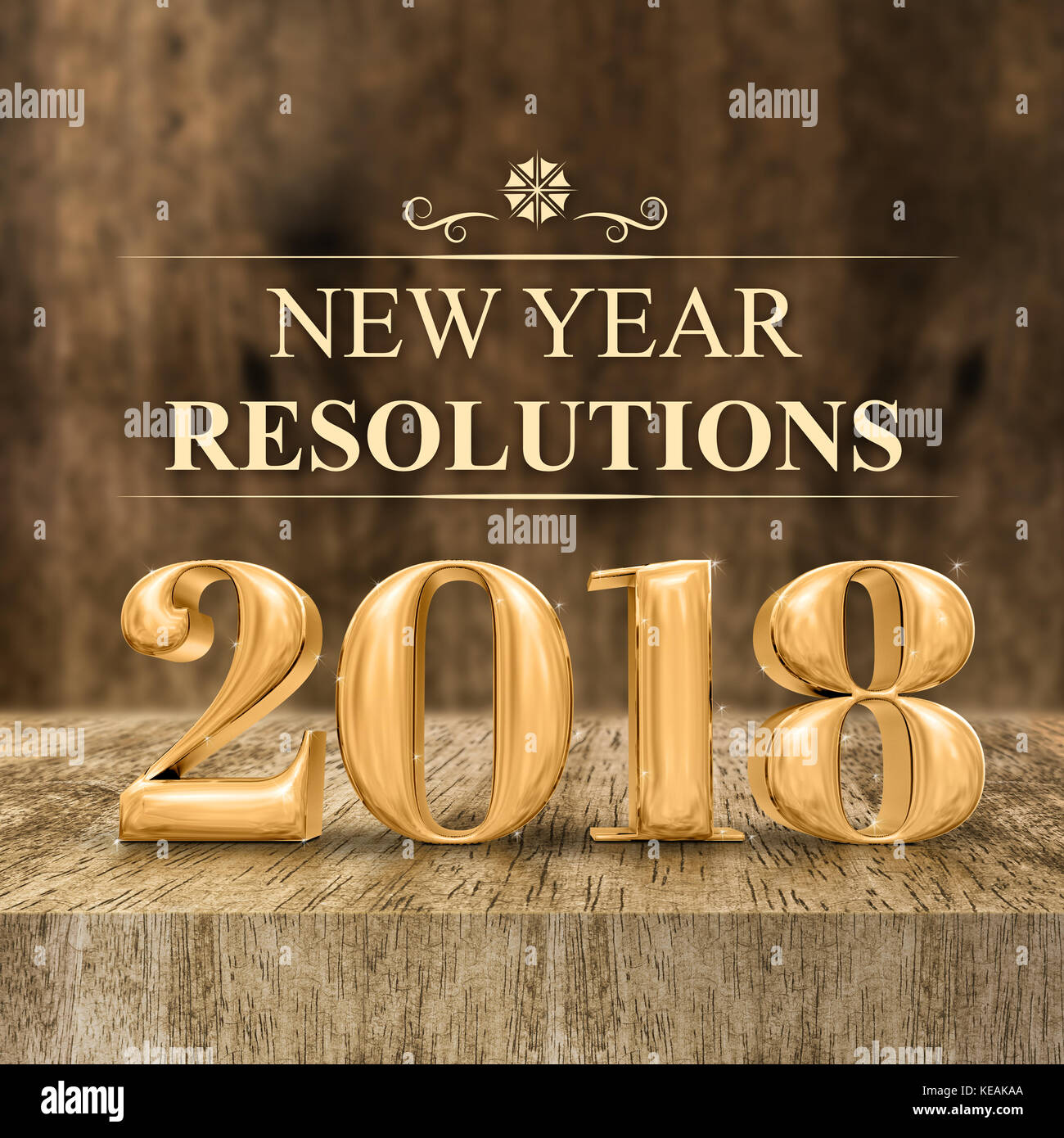 Gold Shiny New Year Resolutions 3d Rendering At Wooden Block Stock Photo Royalty Free