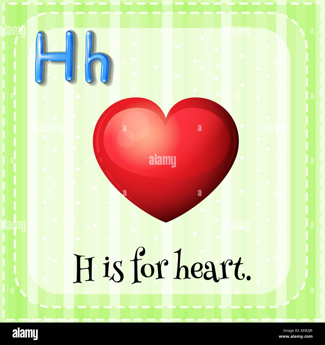 Flashcard Letter H Is For Heart With Green Background