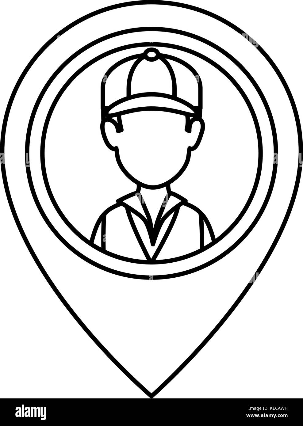 Delivery worker with pointer location stock image