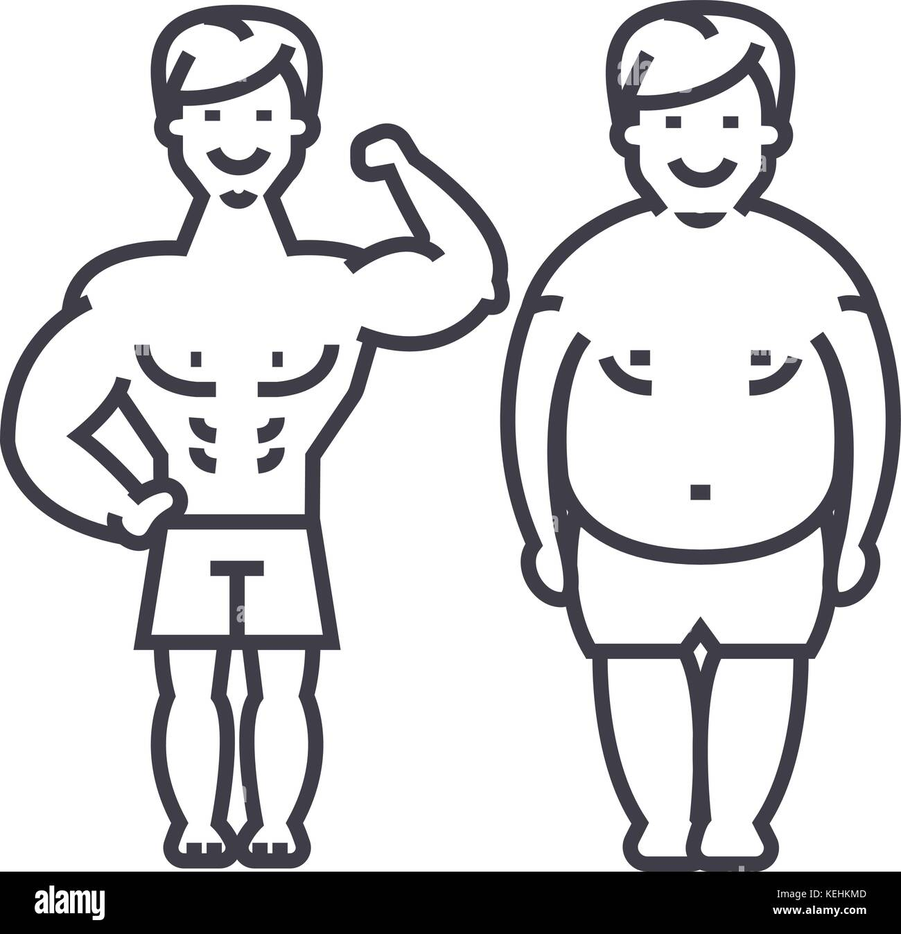 Fitness Before And After Strong Man Fat Guy Vector Line