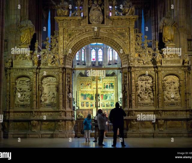 Altar Screen In Cathedral De Santa Maria De Leon In Leon Castilla Y Leon