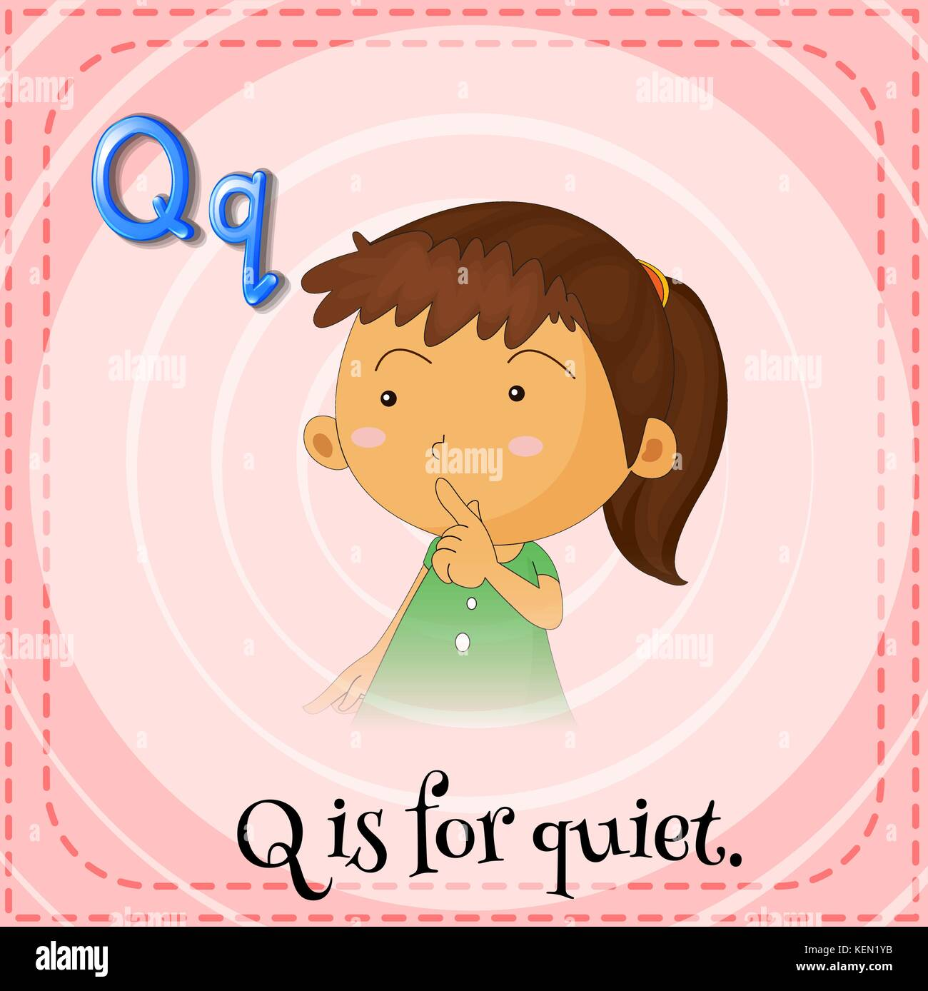 Illustration Of A Letter Q Is For Quiet Stock Vector Image