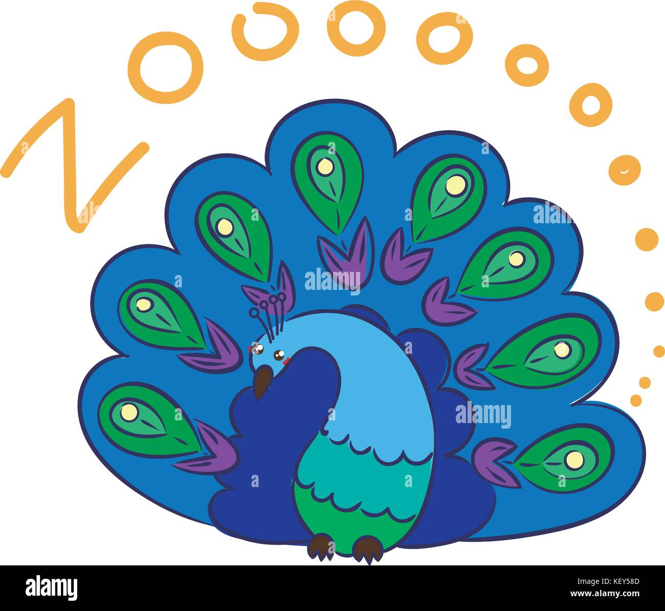 Illustration Of Doodle Cute Peacock Hand Drawn Graphic Vector