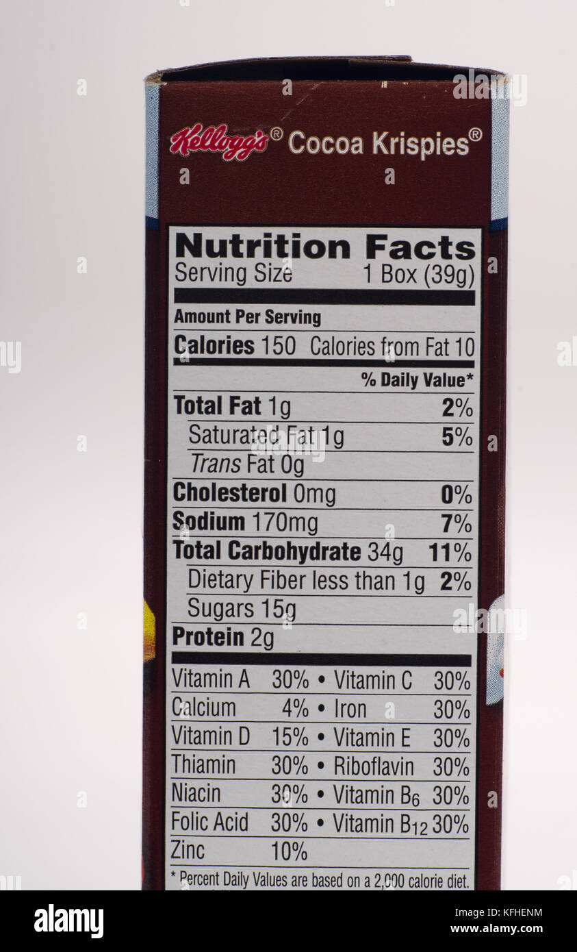Nutrition Information Panel High Resolution Stock Photography And Images Alamy