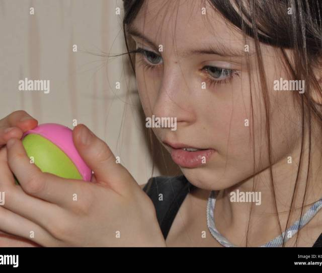 The Girl A Child Doing Christmas Decorations Focus Handjob