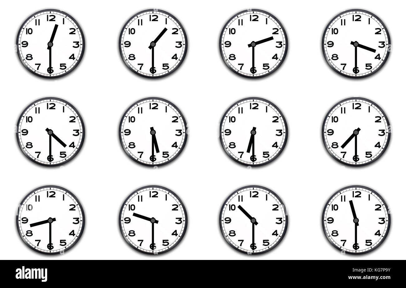 Clocks Indicating The Half Hour On White Stock Photo