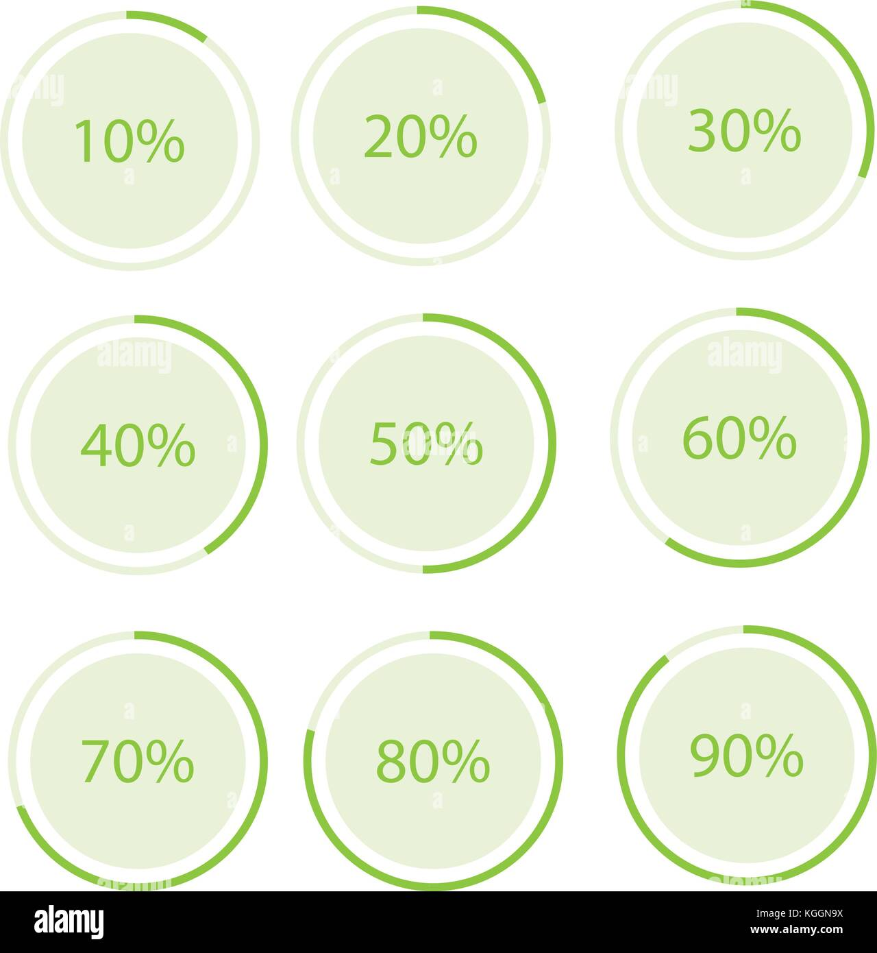 Vector Illustration Green Round Circle Pie Graph Chart