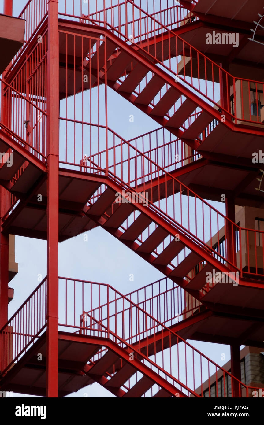 Fire Escape Escapes Steel Steps Ladder Ladders External Staircase | External Metal Fire Escape Stairs | Metal Railings | Stock Photo | Stair Railing | External Spiral Staircase | Fire Safety