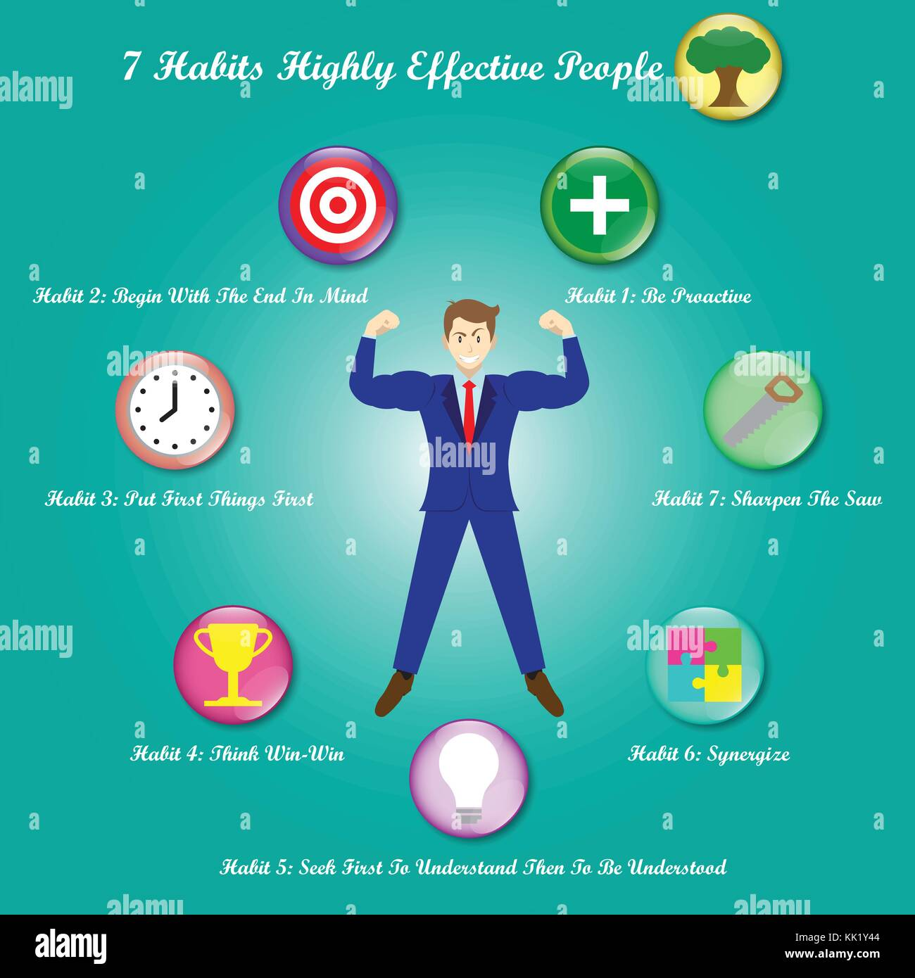 Vector Illustration A Businessman Is Surrounded By Chart