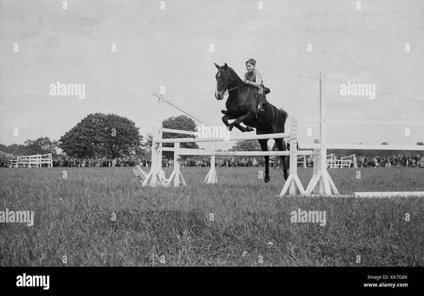 Horse Jumping Black and White Stock Photos   Images   Alamy 1940s  historical picture  eventing competition  a young lad on a horse  jumping a