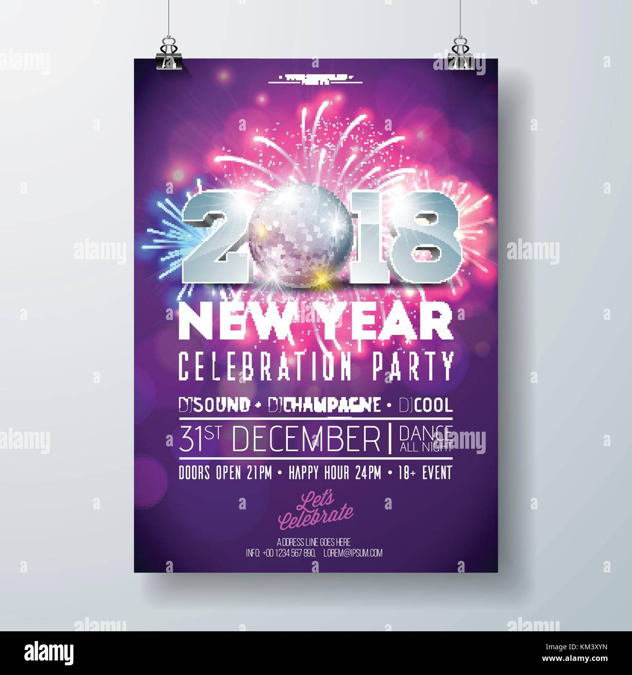 New Year Party Celebration Poster Template Illustration with 3d 2018     New Year Party Celebration Poster Template Illustration with 3d 2018  Number  Disco Ball and Firework on Shiny Colorful Background