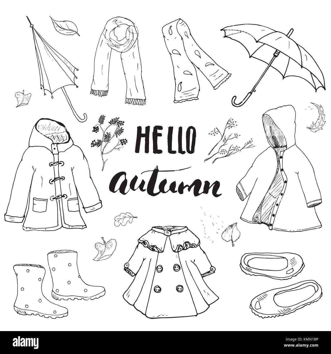 Autumn Season Clothes Set Hand Drawn Doodles And Lettering Vector