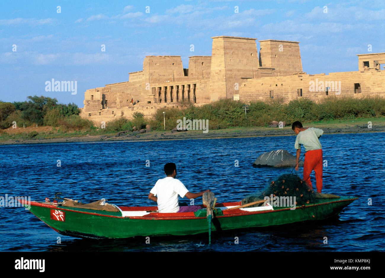 Fishermen Nile River Luxor Egypt Stock Photo
