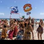 Promotion Group For Flower Power Party At Pacha Club Playa Ses Stock Photo Alamy