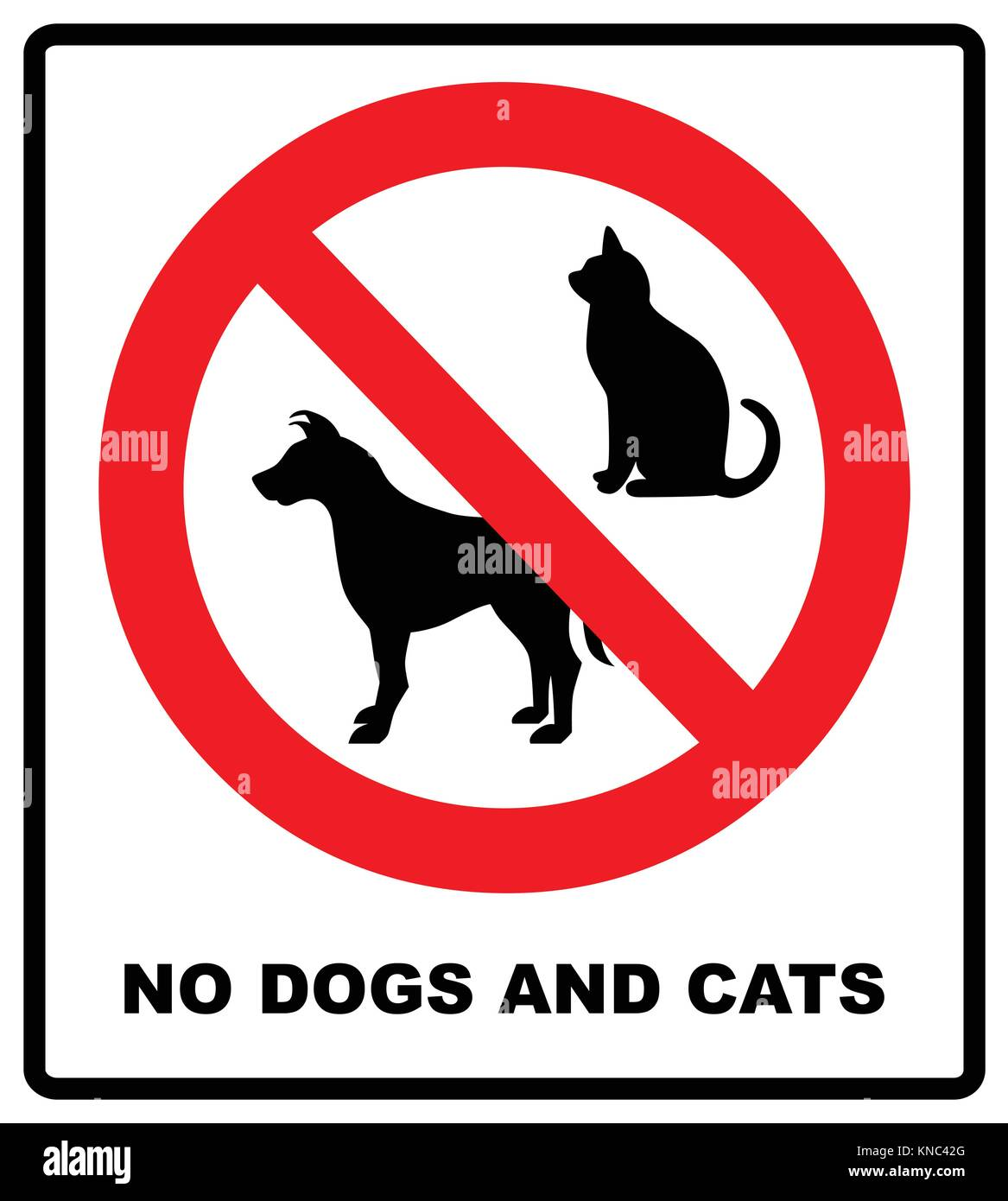 No Dogs And Cats Red Sign No Pets Allowed Sign Round Red