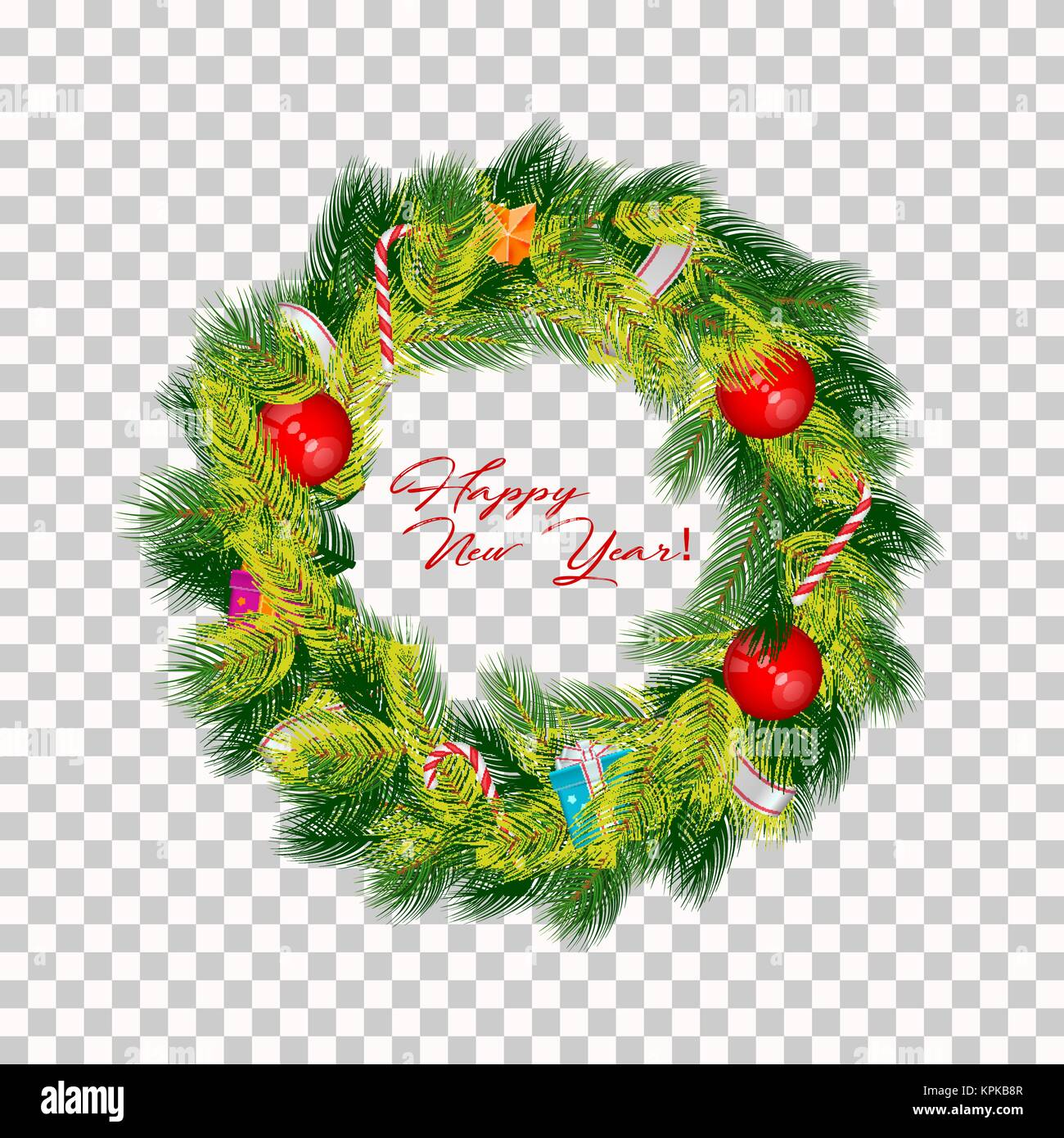 Realistic Vector Christmas Wreath Isolated On Transparent