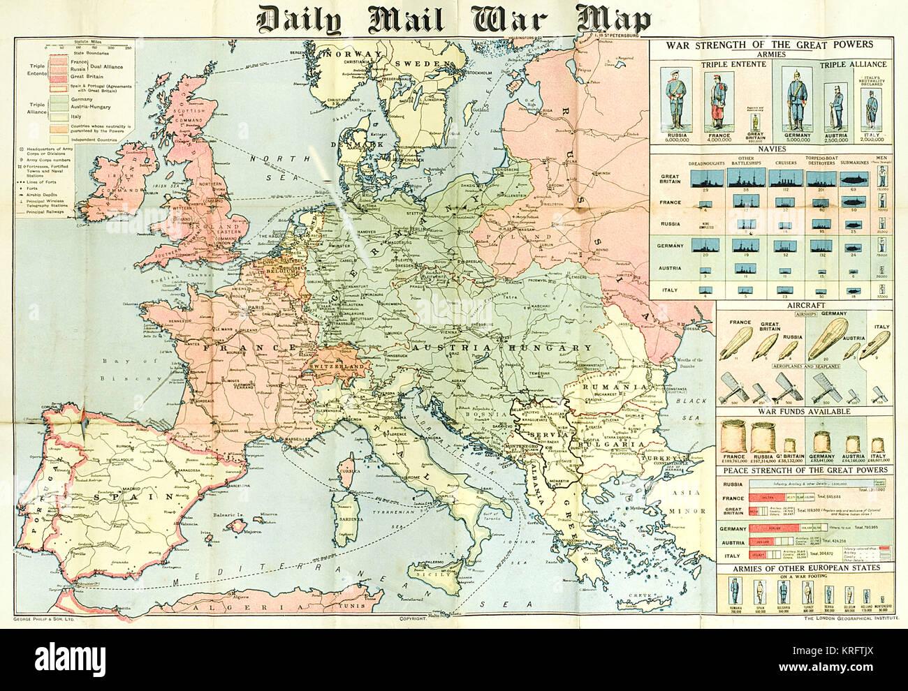 Map Europe World War One Stock Photos Amp Map Europe World