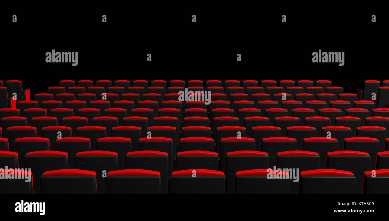 Red Theater Chairs On Dark Background View From Behind Copyspace Stock Photo Alamy