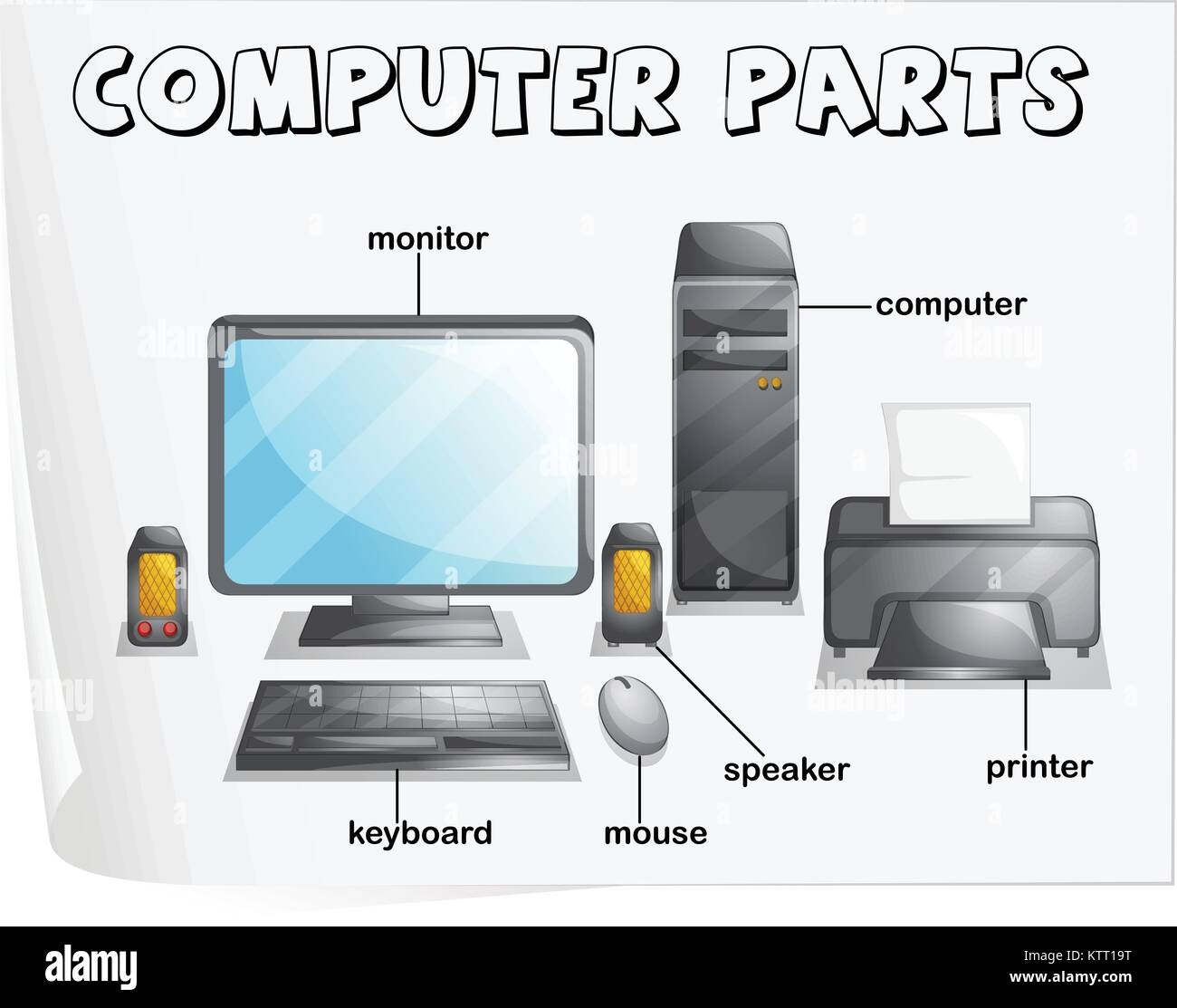Illustration Of Computer Parts Worksheet Stock Vector