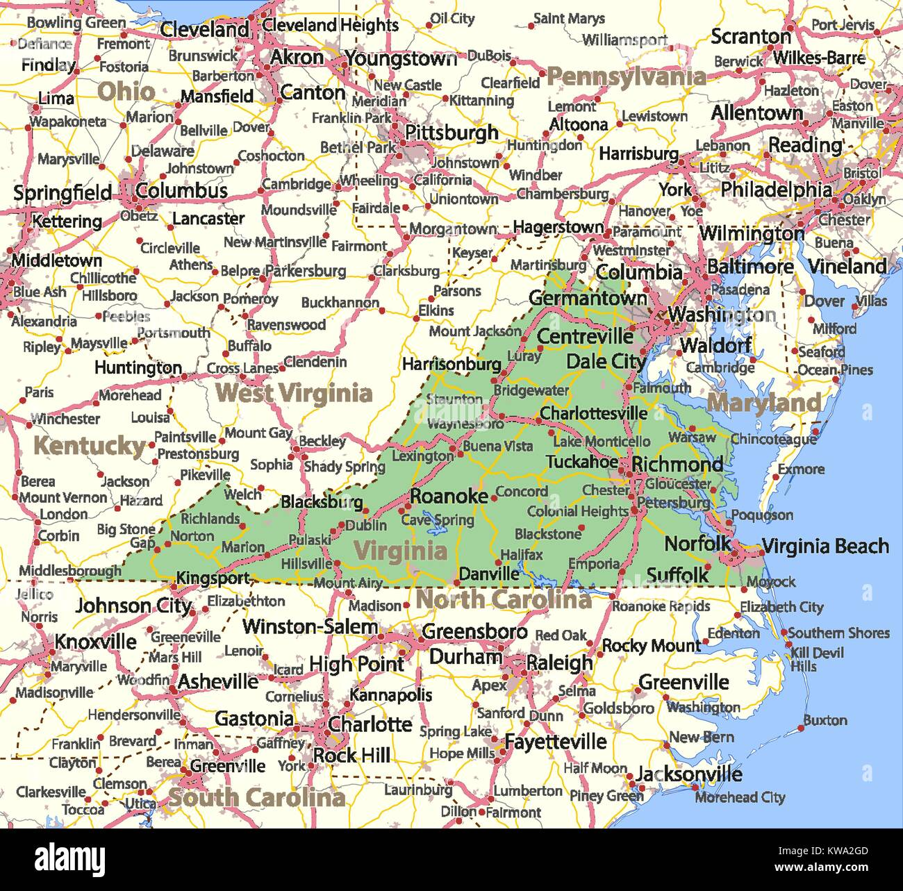 Map Of Virginia Shows Country Borders Urban Areas Place