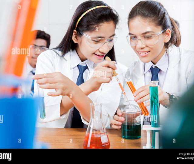 Indian School Chemistry Lab Research Students Working Class Together Education
